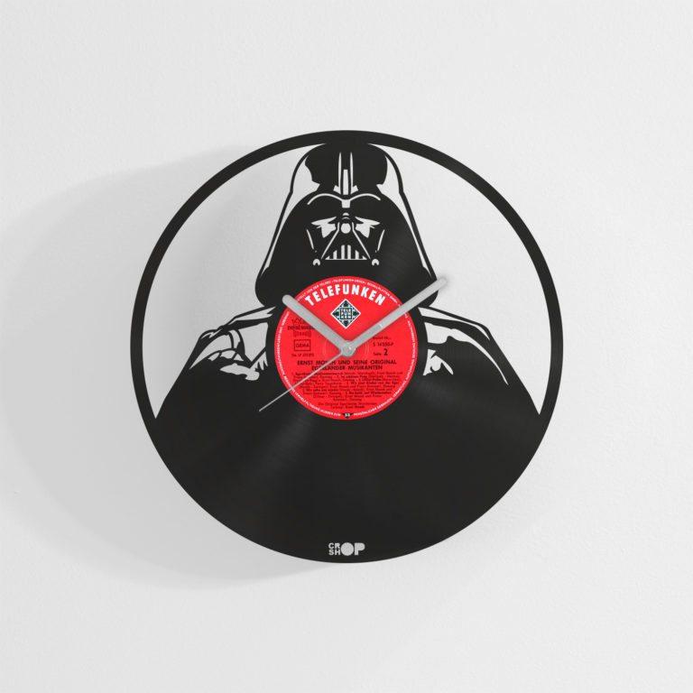 Darth Vader wall clock from upcycled vinyl record (LP)