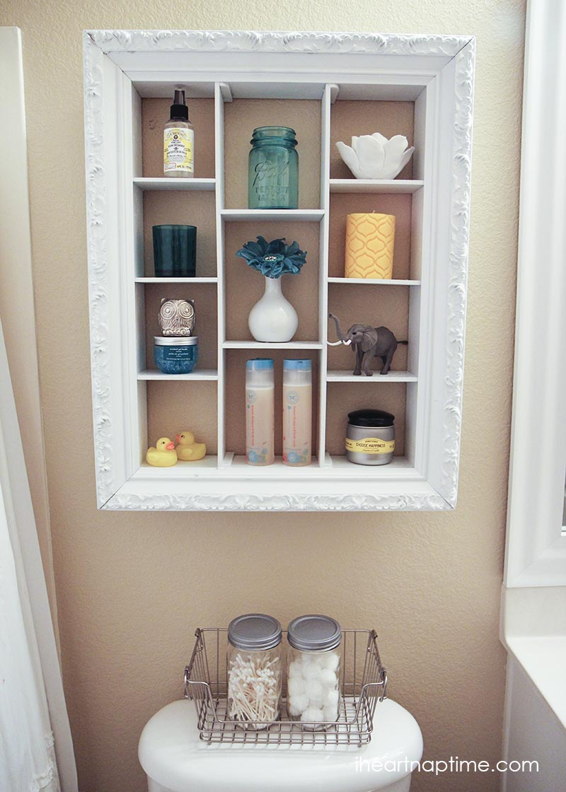 Repurpose old picture frames - bathroom shelf