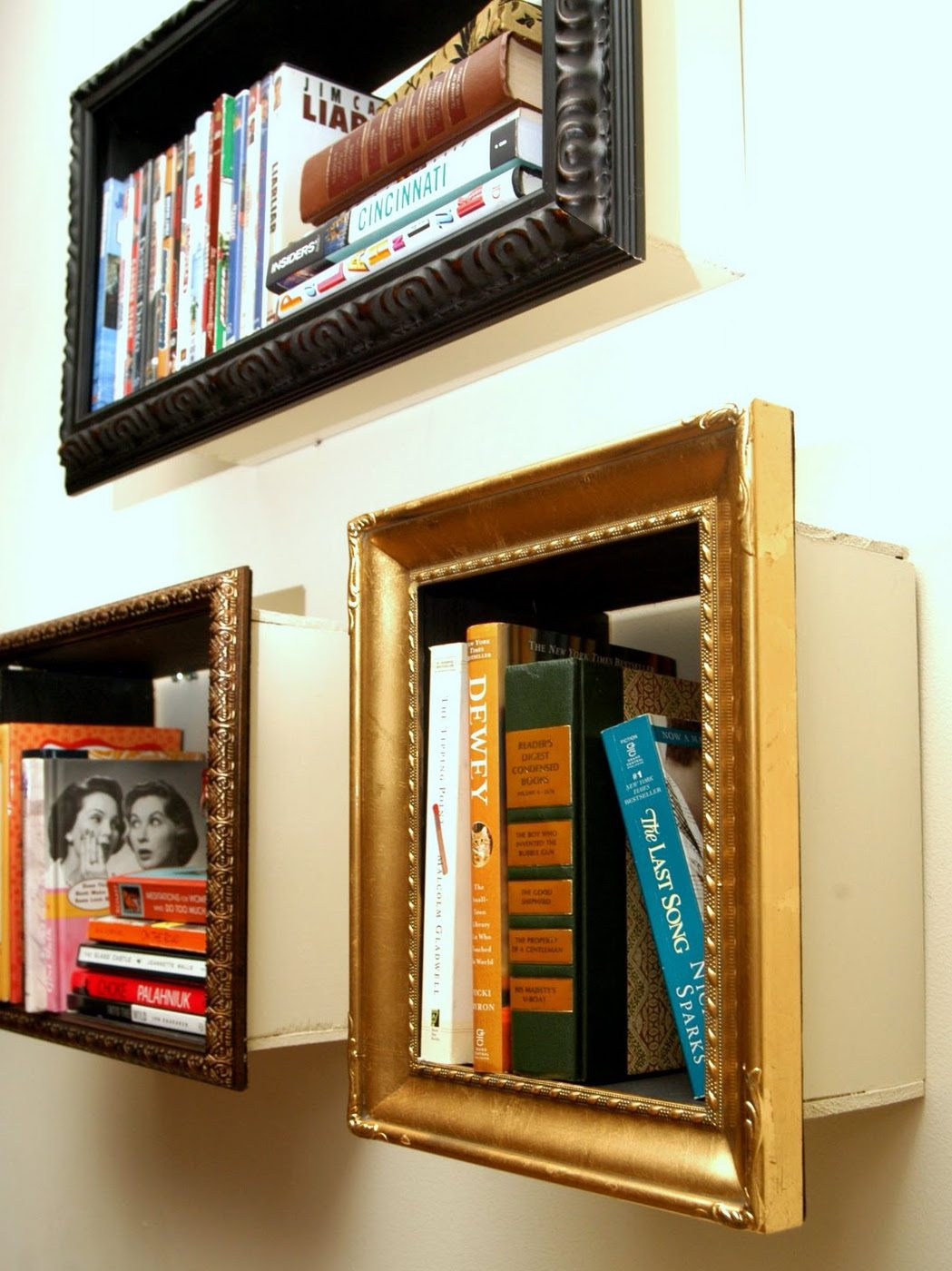 Repurpose Old Picture Frames - Bookcase Frames