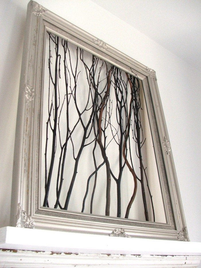 Repurpose Old Picture Frames - Tree Branch Decor