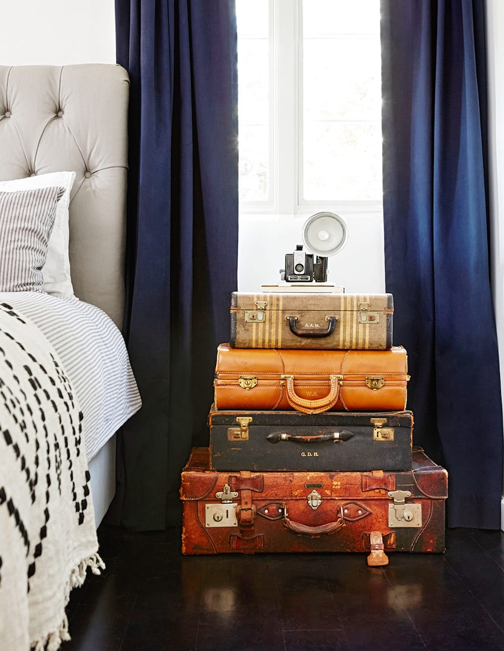 Upcycled side table - Stacked Suitcases